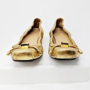 Donald J. Pilner Ballerina Gold Flats